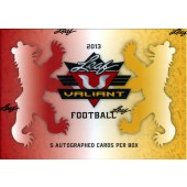 2013 Leaf Valiant Football Hobby 12 Box Case