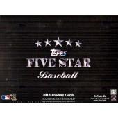 2013 Topps Five Star Baseball Hobby 3 Box Case