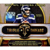 2015 Topps Triple Threads Football Hobby 9 Box Case