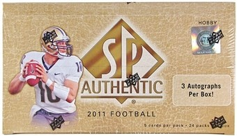 2011 Upper Deck SP Authentic Football Hobby 12 Box Case