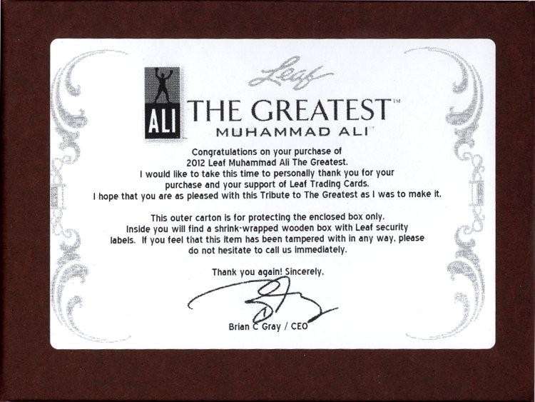 2012 Leaf Muhammad Ali The Greatest Hobby Box