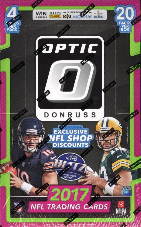 2017 Panini Donruss Optic Football Hobby 12 Box Case