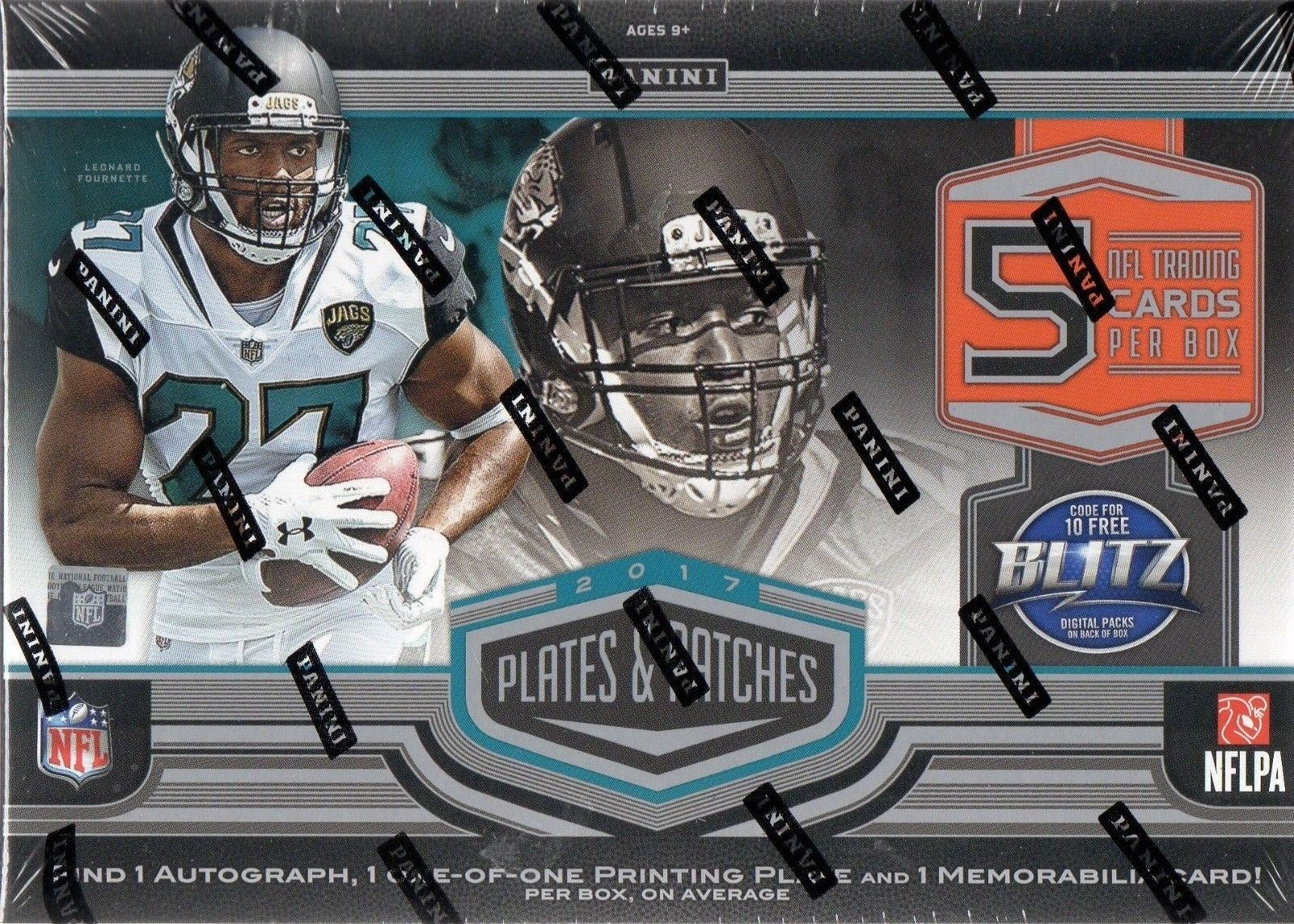 2017 Panini Plates & Patches Football Hobby 12 Box Case