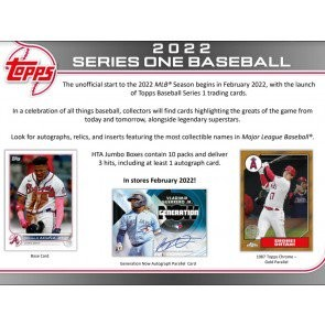 2022 Topps Series 1 Baseball Jumbo 6 Box Case
