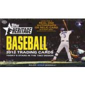 2012 Topps Heritage Baseball Hobby 12 Box Case