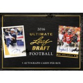 2016 Leaf Ultimate Draft Football Hobby 12 Box Case
