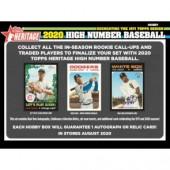 2020 Topps Heritage High Number Baseball Hobby 12 Box Case