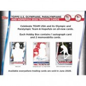 2020 Topps US Olympics & Paralympic Hopefuls Hobby 12 Box Case