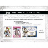 2022 Topps Inception Baseball Hobby 16 Box Case